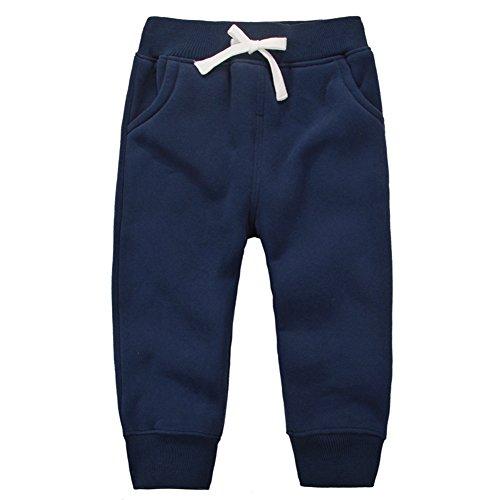 CuteOn Unisex Bambini Elastico in Vita Cotone Caldo Pantaloni Pants per Bambini Bottoms Blu Scuro 1Anni