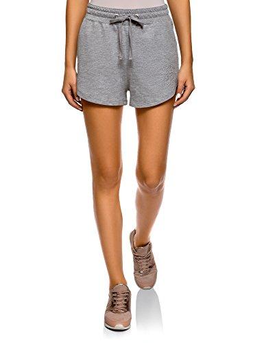 oodji Ultra Damen Baumwoll-Shorts mit Bindebändern, Grau, Herstellergröße DE 32 / EU 34 / XXS