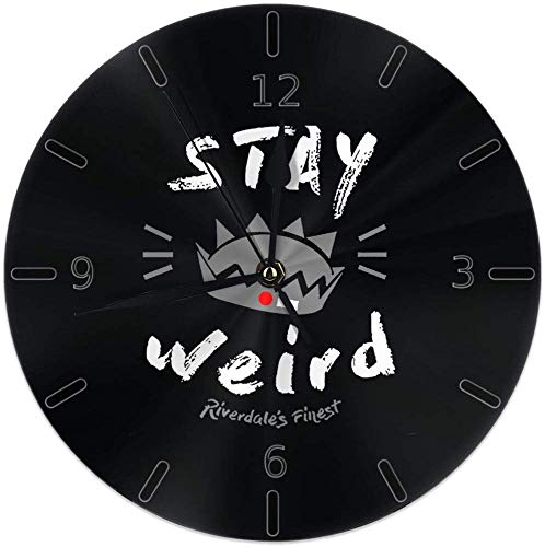 Kncsru Wanduhr Silent Non Ticking Round Wanduhren, Riverdale 'Stay Weird' Uhren Batteriebetriebene Quarz Analog Quiet Tischuhr