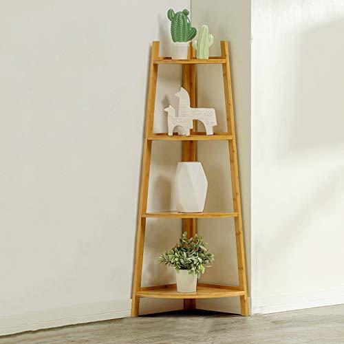 LXYStands opslag thuis, woonkamer, slaapkamer, balkon staande planken, hoekplank in industrieel design, boekenkast, ladderkast, eenvoudige montage, stabiel metaal voor het frame, 4 niveaus Sort Out