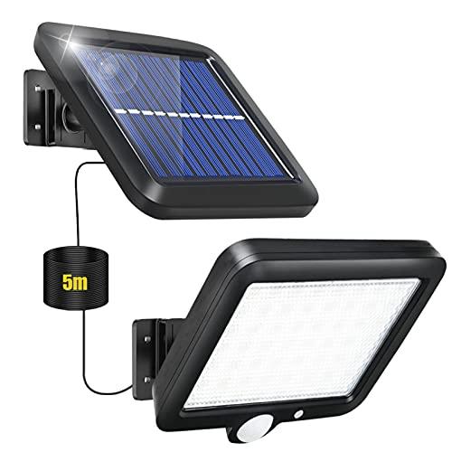 Solarlampen für Außen mit Bewegungsmelder, 56 LED Solarleuchte mit Bewegungsmelder Aussen Solar Strahler Licht Solar Aussenleuchte IP65 Wasserdichte 3 Modi mit 16.5ft Kabel