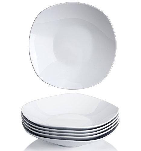 Y YHY 22,9 cm Porzellan Salat Pasta Schüssel weiß quadratisch Schüssel Set breit und flach 6 Stück