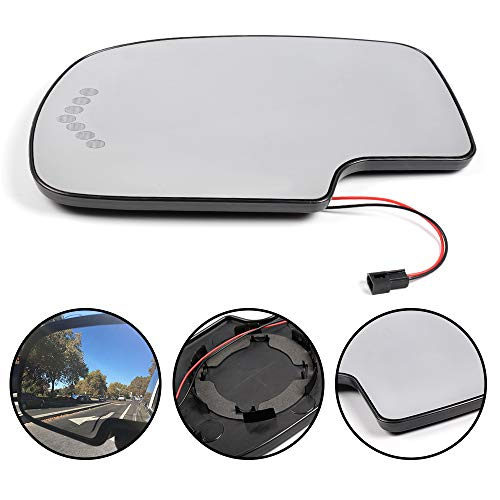 G-PLUS Driver Side Left Side Heated Mirror Glass with Turn Signal Without Auto Dimming for Chevy Avalanche Silverado Suburban for GMC Tahoe Sierra Yukon Cadillac 2003-2006