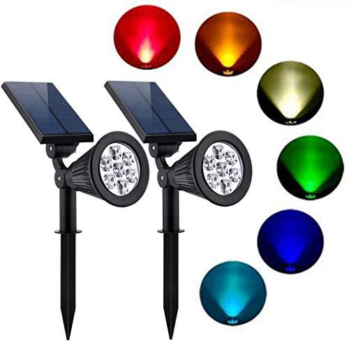 CASNIK Solarleuchten Einstellbare Außenbeleuchtung Wasserdicht Außenstrahler passend für Hof, Weg, Landschaft, Auffahrt, Garten (2 Stück 7LED)-RGB