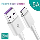 5A Cable USB C GlobaLink,2M Cable Tipo C Carga Rápida Cable Huawei Super Charge para Huawei P40/P40 Pro/P30/P30 Lite/Mate 30/30pro/Mate 20/20 Pro/10/P20/P20 Pro/P20 Lite/P10/P10 Plus/P9/P9+(Blanco)