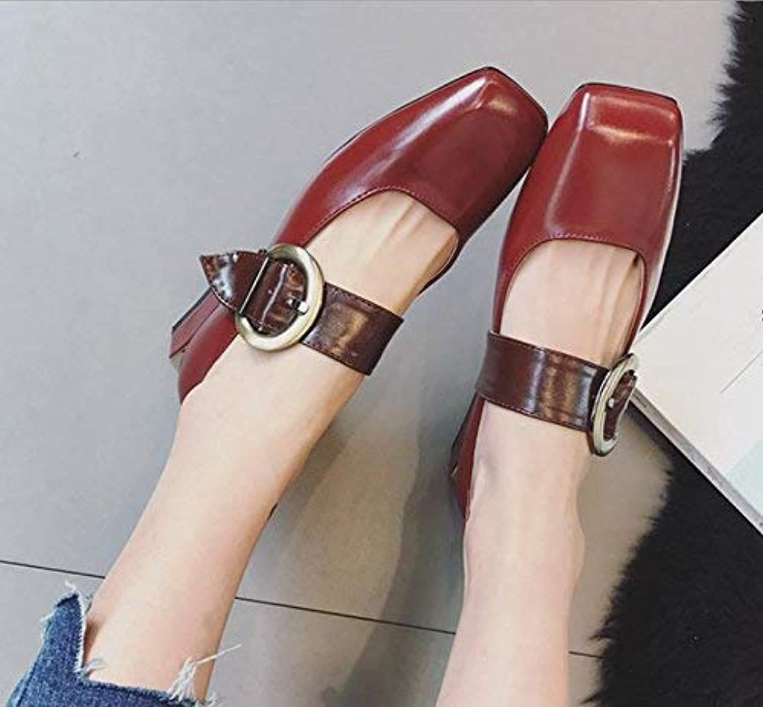 Lady Classic Women Retro with a Word Buckle with The Women's shoes Buckle Shallow Mouth Square shoes Wild for Women