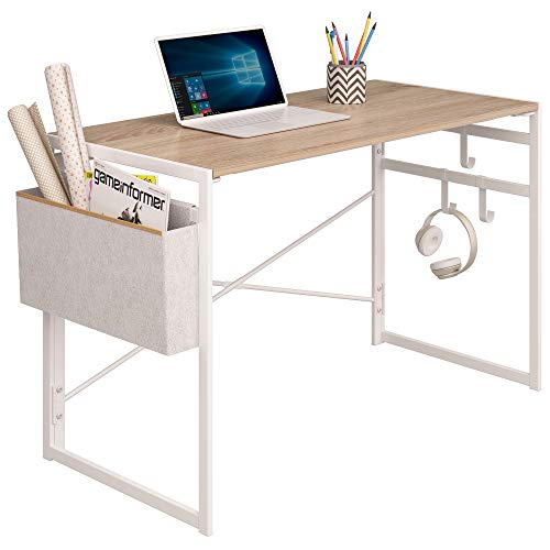 "JSB Folding Computer Desk with Storage Bag and Hook, Writing Desk Modern Industrial Work Table Laptop Desk for Home Office (39.37"" x 19.69"" x 29.53"", White)"
