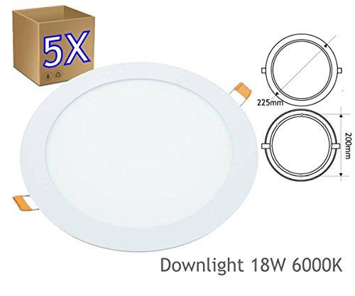 5 x Pannello Faro 18W Faretto A LED Luce Bianca 20CM E Ad Incasso A Molla Rotondo