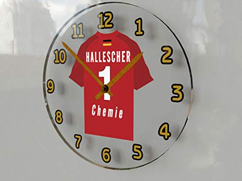 FanPlastic 3. Liga Deutschland Fußball Wanduhr - Fußball - 3. Liga Fußball, JEDER Name & Jede Nummer - NEUES ACRYL Shirt Design !!! (Hallescher FC)