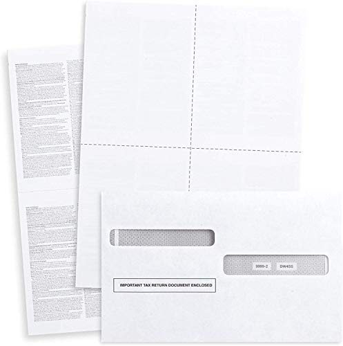 Blank 2020 W2 4-Up Tax Forms,50 Employees kit, With Self-Seal Envelopes,Instructions in Back of the Forms,Great for QuickBooks and Accounting Software, Idea for E-Filing W2 4-Up