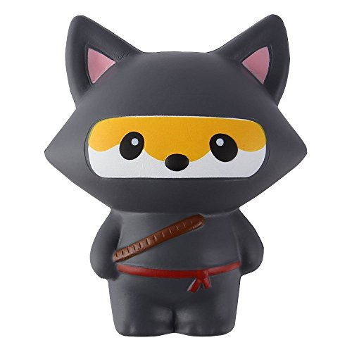 TMEOG Kawaii Squishies Jumbo Slow Rising Perfumado Linda Animal Ninja Juguete Fox para aliviar el estrés (Negro Zorro)