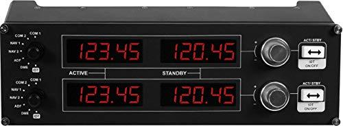 Logitech G Saitek Pro Flight Radio Panel, Controller Radio Simulazioni Professionali di Pannello Radio di Volo, 4 Display LED, Controlli Tempo Reale, Modulare, Intercambiabile, USB, PC - Nero