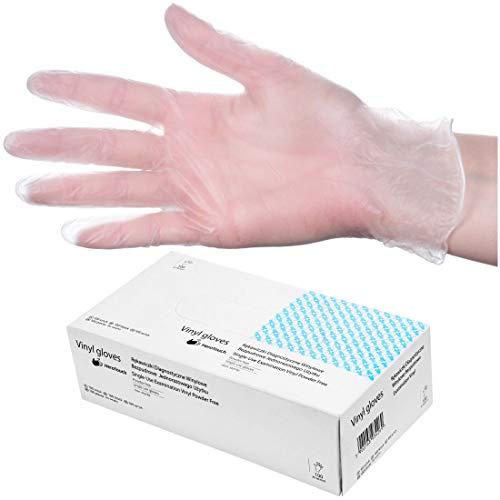 HeroTouch - Guanti monouso in vinile, senza polvere, 100 pezzi, guanti in vinile trasparenti, in pratica scatola dispenser, guanti usa e getta, 100% vinile, taglia XL