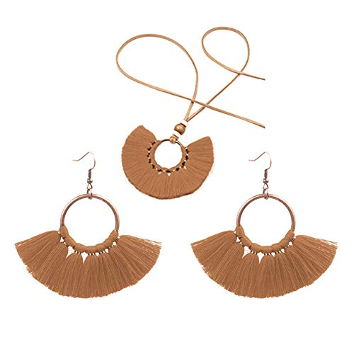 ZqiroLt Böhmische Frauen Runde Anhänger Fransen Quaste Seil Halskette Ohrringe Schmuck Set All-Match Geschenk Shopping Dating Kaffee