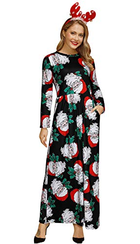 For G and PL Christmas Women Santa Claus Cosplay Gifts Xmas Party Longsleeve Printed Flared Maxi Dress Santa L