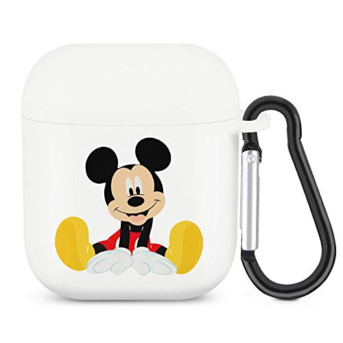 Mickey Mouse and Sit Quietly AirPods Silicone Protective Cover (with Buckle) Protective Cover for AirPods 1/2 Generation Bluetooth Headset, The Best Gift for Men and Women