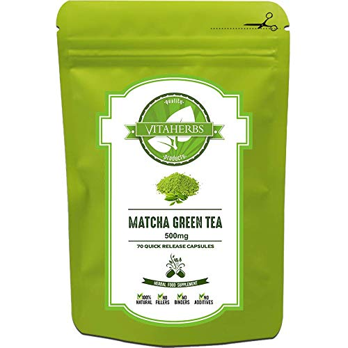 Matcha Green Tea 500mg - 70 Capsules (5 Weeks Supply) |  Pure Matcha Green Tea  Unprocessed  No Additives  No Fillers  No Preservatives  100% Natural Product  Free UK Delivery