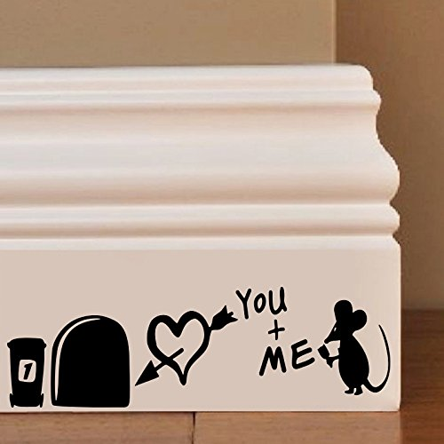 Souris Hole You Me Wall Art Autocollant Decal Mice Home Skirting Board Drôle by Inspired Walls®