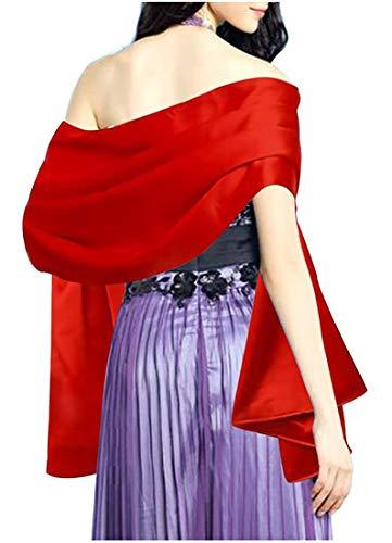 L'VOW Women's Soft Satin Evening Scarves Wedding Bridal Cape Shawl Wraps Stole (Red)