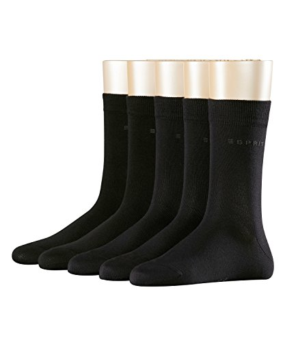 ESPRIT Damen Solid 5-Pack W SO Socken, Blickdicht, Schwarz (Black 3000), 36-41 (5er Pack)