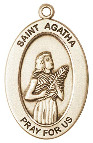 14kt Gold St. Agatha Medal, Patron Saint Nurses/Breast Cancer 1 x 1/2