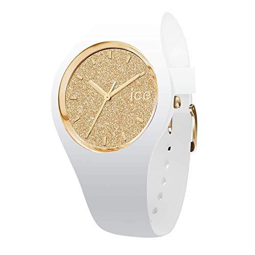 Ice-Watch - ICE glitter White Gold - Weiße Damenuhr mit Silikonarmband - 001345 (Small)