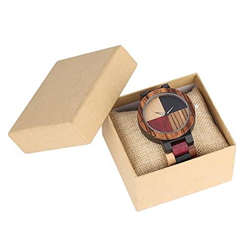 KUELXV Reloj de Pulsera de Madera Reloj de Madera Cruzado con Costura de 4 Colores, Reloj de Cuarzo con Banda de Color Mixto Ajustable, Reloj de Pulsera Retro para Hombre, Reloj de Pulsera para ama