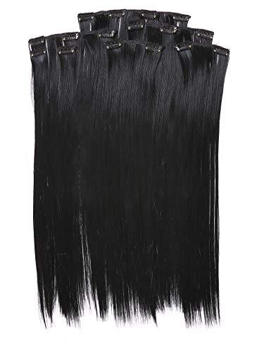 Prettyland BK01-7 Extensions 50cm cheveux lisses et souples à clipser - noir 01