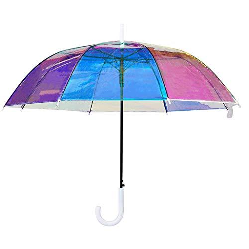 Queen Boutiques Gemakkelijk op te vouwen Helder Paraplu Groot Transparant Doorzichtig Paraplu Bruid Wedding Paraplu voor vrouwen Multicolor Regen- en Winddicht