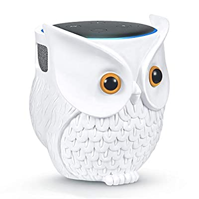 VFclar Owl Echo Dot Holder Stand, Owl Statue Smart Speaker Holder Stand for Echo Dot 3rd and 2nd and 1st Generation, Cartoon Decor Owl Shape Home Decor - White from VFclar