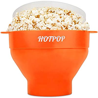 The Original Hotpop Microwave Popcorn Popper, Silicone Popcorn Maker, Collapsible Bowl Bpa Free and Dishwasher Safe- 17 Colors Available (Orange)