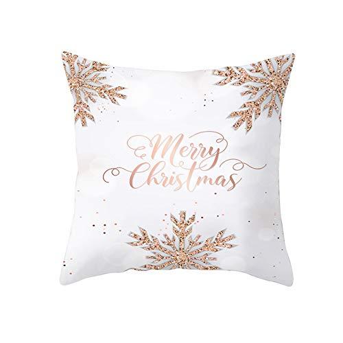 my cat Fundas de almohada blancas de nieve para regalo de Año Nuevo para el sofá del hogar, fundas de almohada decorativas de Navidad, 45 x 45 cm, PC11988