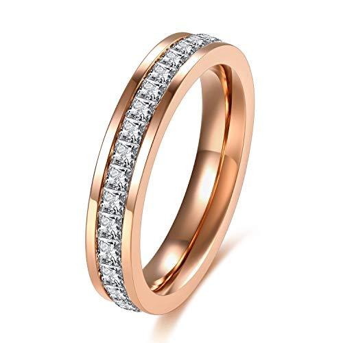 SFK (シフク) ジルコニア リング レディース 婚約 結婚 指輪 幅 3mm シルバー ピンクゴールド ピンキーリング 可愛い (ピンクゴールド, 8)