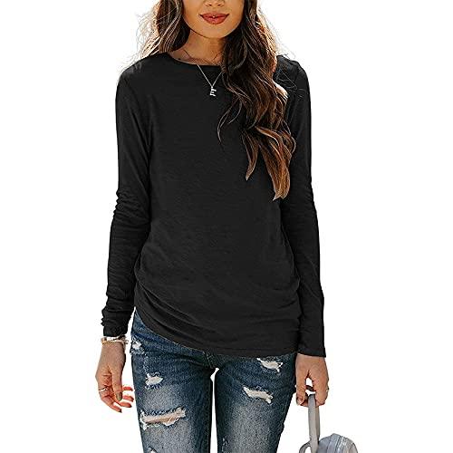 Camiseta de manga larga para mujer, color sólido, cuello redondo, estilo vintage, para mujer, Negro, M