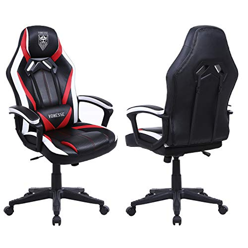 Gaming Chairs for Adults, Ergonomic Computer Chair with Massage, Carbon Fiber Modern Office Gaming Chair, Computer Desk Chair Big and Tall, Heavy Duty Gamer Chair for Teens, Thick-Padded Armrests(Red)