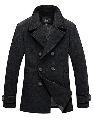 Match Mens Wool Blend Classic Pea Coat Winter Coats(010 Dark Gray, Small)