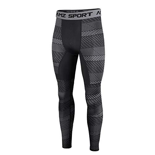 AMZSPORT Herren Kompressionshose Schnelltrocknende Laufhose Sporthose Atmungsaktive Trainingshose - Schwarz L