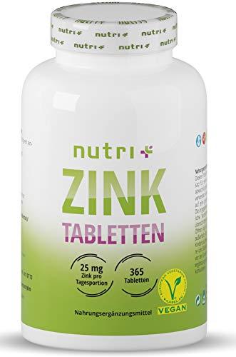 Zink Tabletten 25mg - vegan + hochdosiert - 365 Zinktabletten für Haut + Haare - Zinkbisglycinat ohne Zusatzstoffe/Magnesiumstearat - elementares Zinc Chelat