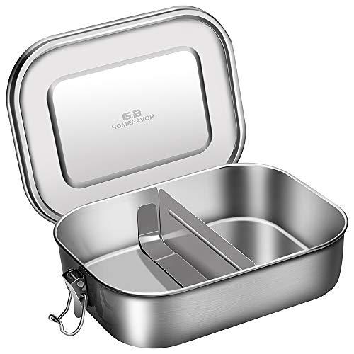 G.a HOMEFAVOR Metall Dichte Brotdose, Edelstahl Lunchbox 1400ml Bento Box mit Klips, inkl. Herausnehmbarer Trennsteg