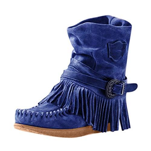 Binggong Stiefel Damen 70er Jahre Hippie flach Braun Wildleder, Kurzschaft Ankle Boots kurz Stiefel Indianer Retro Fransen weit Stiefel Mokassin Stiefel 35-43