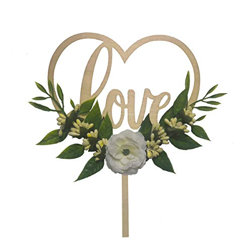 Wedding Cake Topper - Rustic Theme for Bridal Shower Engagement Anniversary Party Decoration , Personalized Heart Shaped , Wooden