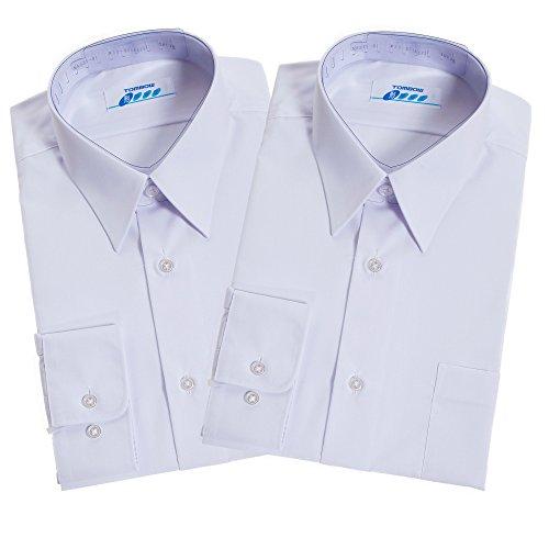 トンボ(TOMBOW) 長袖男子スクールシャツA体 2枚セット ホワイト 形態安定・抗菌防臭加工 TOMBOW13 (A37(165))