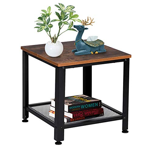 Bonnlo Side Tables Living Room, Industrial Side Table Vintage Sofa Table Small Square End Table Entrance Table Bedside Table with Mesh Shelf, Lamp Tables for Living Room, Metal Frame/Rustic Brown