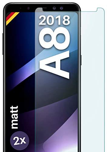 moex Panzerglas kompatibel mit Samsung Galaxy A8 (2018) - Panzerfolie Matt aus Glas, Anti Reflex Bildschirmschutz Kratzfest, Matte 9H Schutzfolie, 2X Stück