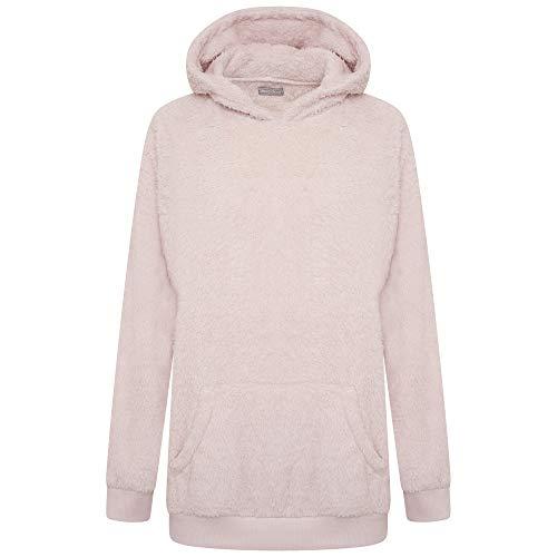 Sleepdown Womens Sherpa Teddy Fleece Longline Lounge Hoodie Sudadera con Capucha, Blush Pink, XL para Mujer