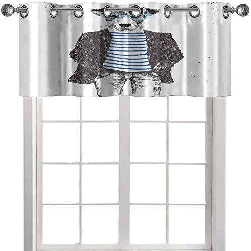 Cortinas de cenefa vestida para perros hipster con gafas dibujadas a mano, diseño de animales de moda de 106 cm de ancho x 45 cm de largo para ventanas, color negro, blanco y azul