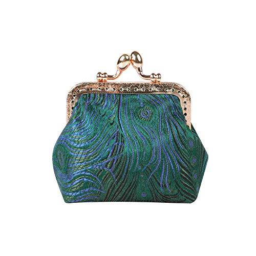 DAMILY - Monedero con pluma bordada, mini bolsa de dinero, bolsas para tarjetas