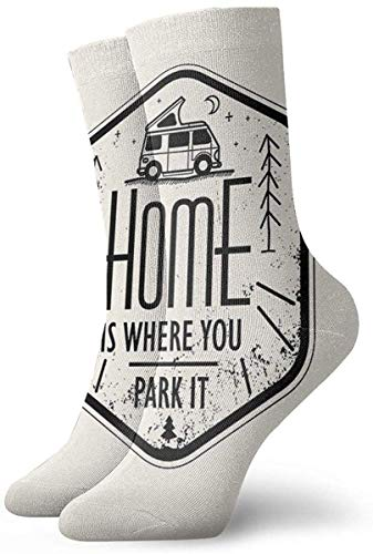 ORANGEW Home is Where You Park It Vanlife Camper Art Casual Crew Socks Funny Novelty Ankle Socks Winter Socks for Men and Women - One Size Fits Most