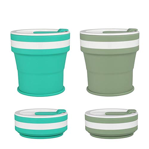 COGO MAN Collapsible Coffee Cup, Silicone Travel Cup with Lids, Reusable Camping Tea Cup, Portable Foldable Hiking Cup, Lightweight, 12 oz(Jade+Green)