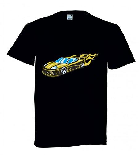 Camiseta con texto en alemán 'Schöner Sportwagen gelb mit gelben Flammen Modena America Amy USA Auto Car Breitbau V8 V12 Motor Llanta Tuning Mustang Cobra para hombres damas de niños - 104-5XL' Negro  Talla del hombre: 4X-Large